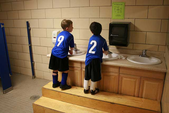 wash your hands water soap kids soccer sink Dont wash your hands with hot water   use cold water to save energy and water
