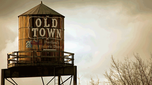 water tower old town portland historic district cloudy sky ot How does water get to my house?