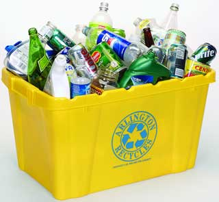 arlington recycles bin trash bottle glass can green yellow virginia Recycling creates a million jobs