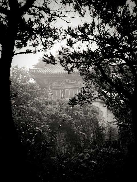 buddhist temple south korean black white shroud mists trees fog For the first time, Korean Buddhism available to Western world