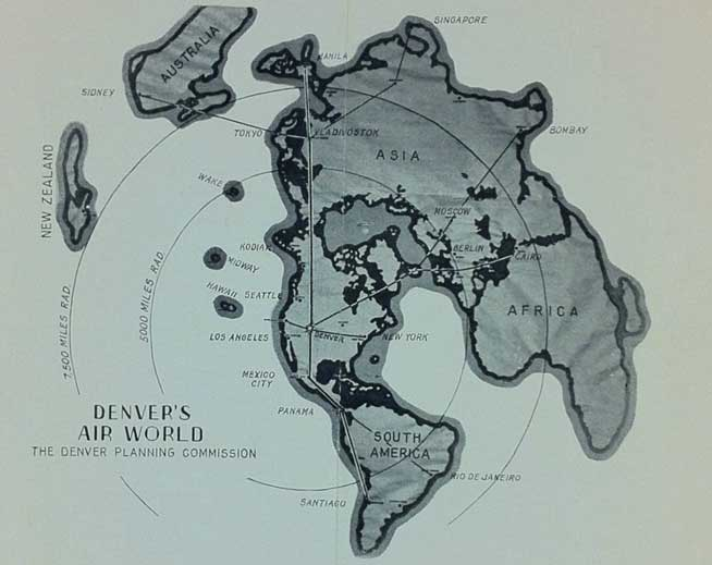 denver air map world war ii historical planning comission flying Historical World War II air map   Denver as the center of the universe
