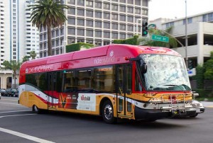 gasoline hybrid bus long beach california public transportation electric 300x202 gasoline hybrid bus long beach california public transportation electric